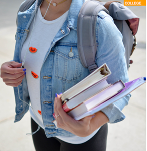 Student with backpack and books