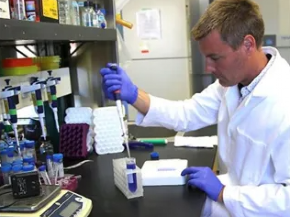 Scientist in lab with pipette in hand