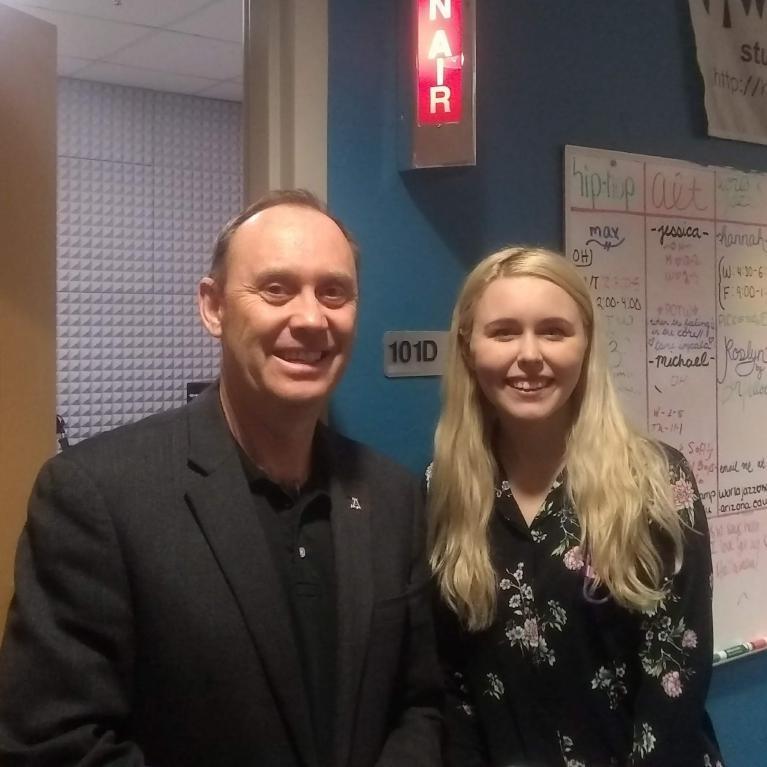 Shane Burgess and Alli Gilbreath at KAMP student radio