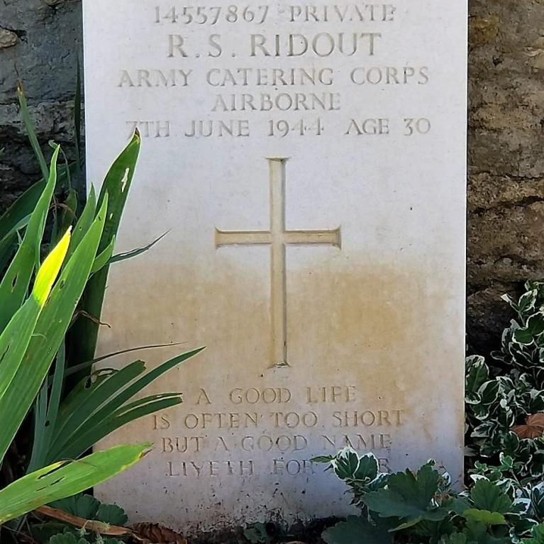 Gravestone for Army Catering Corps veteran at Normandy, France.